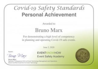Prove your knowledge in planning COVID-Safe Events. This helps your clients and visitors feel confident attending your event during the pandemic.